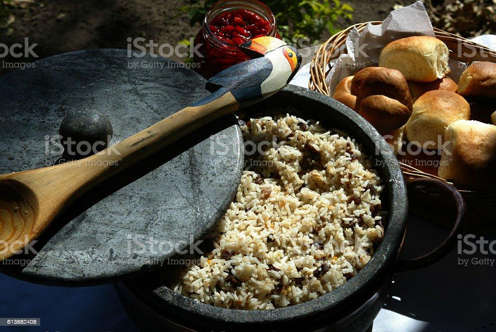 Traditional food at Pantanal, Carreteiro rice stock photo