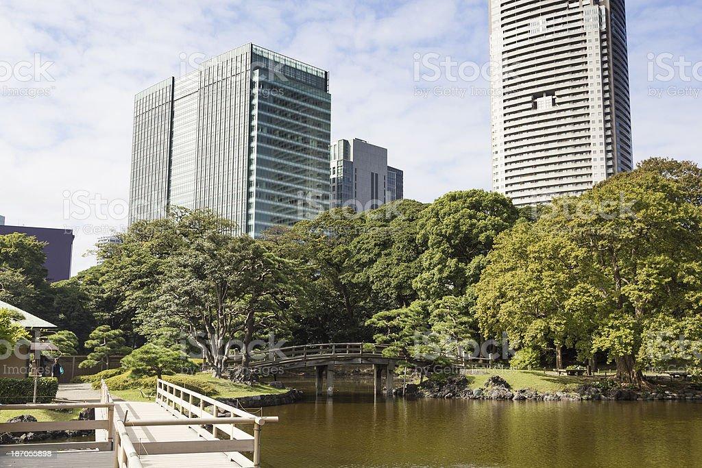 Traditional formal garden, Tokyo stock photo