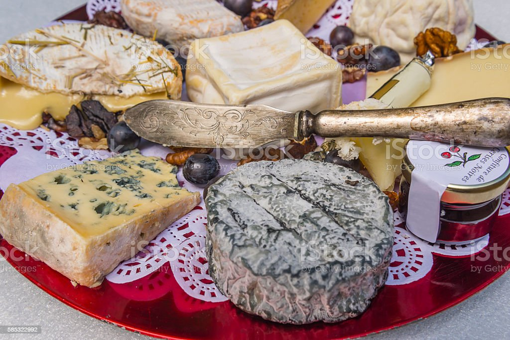 Traditional french cheese board stock photo