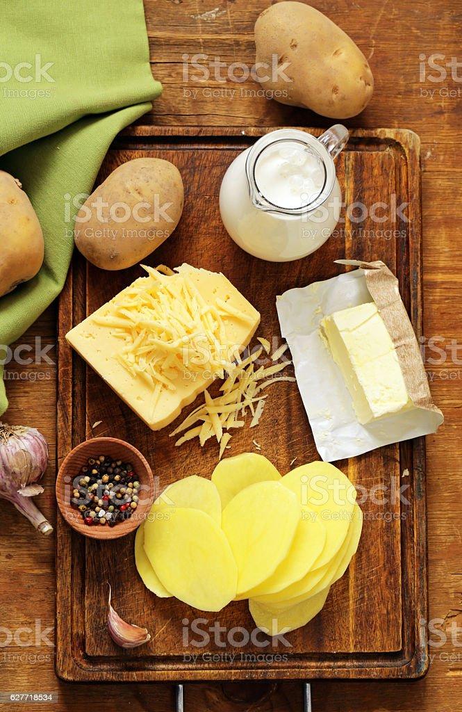 Traditional French potato gratin with cream stock photo