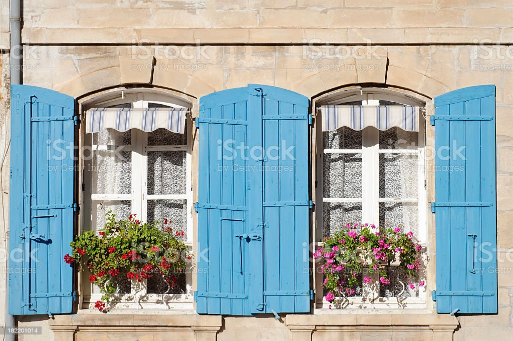 Traditional French Shutters and Windows stock photo