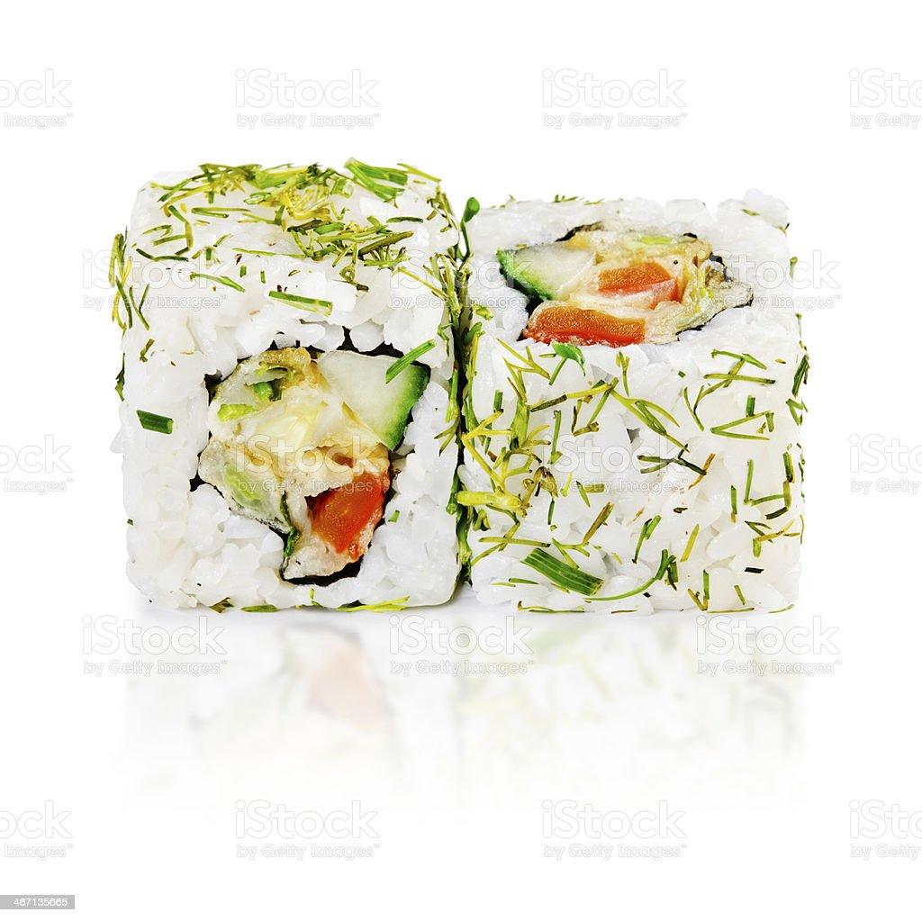 traditional fresh japanese sushi rolls on a white background royalty-free stock photo