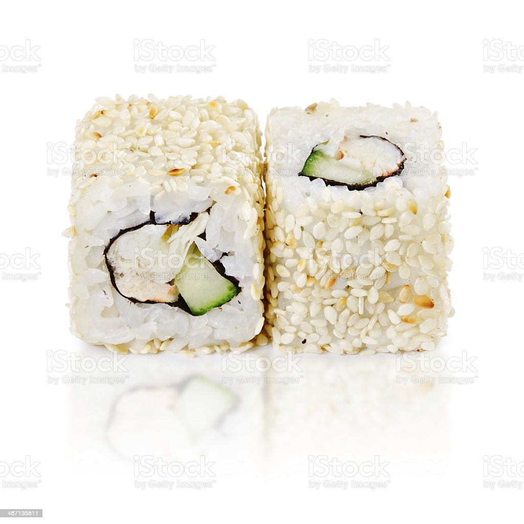 traditional fresh japanese sushi rolls on a white background royalty-free stock photo