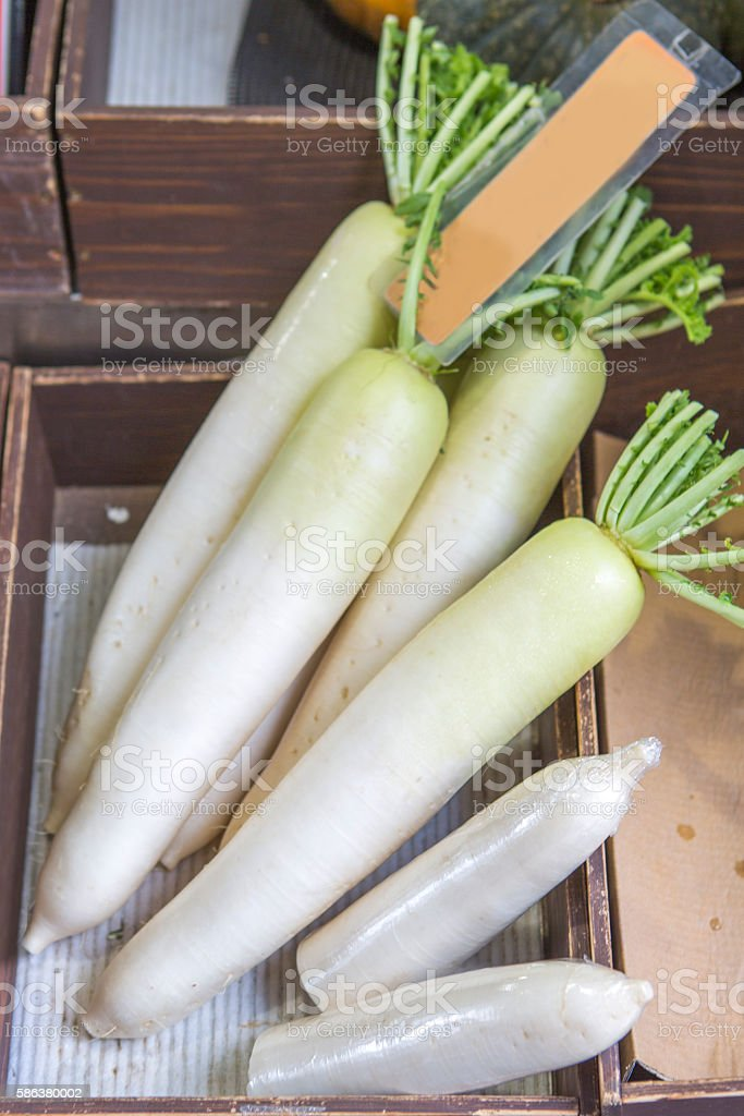 traditional fresh radish vegetable for sale at kyoto japan stock photo