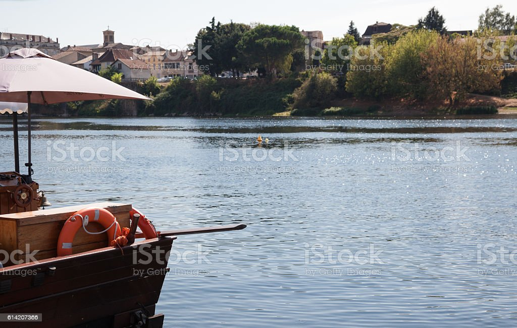 traditional gabarre boat at quayside Bergerac Dordogne France stock photo