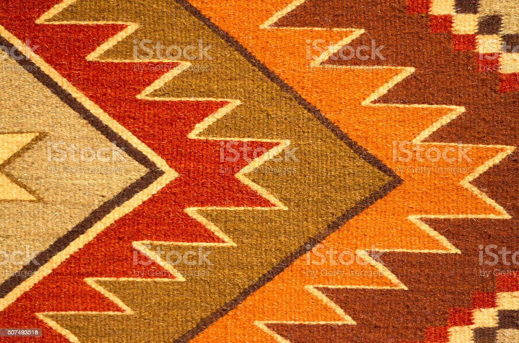 Traditional Geometric Mexican Wool Rug Detail (Close-Up) stock photo