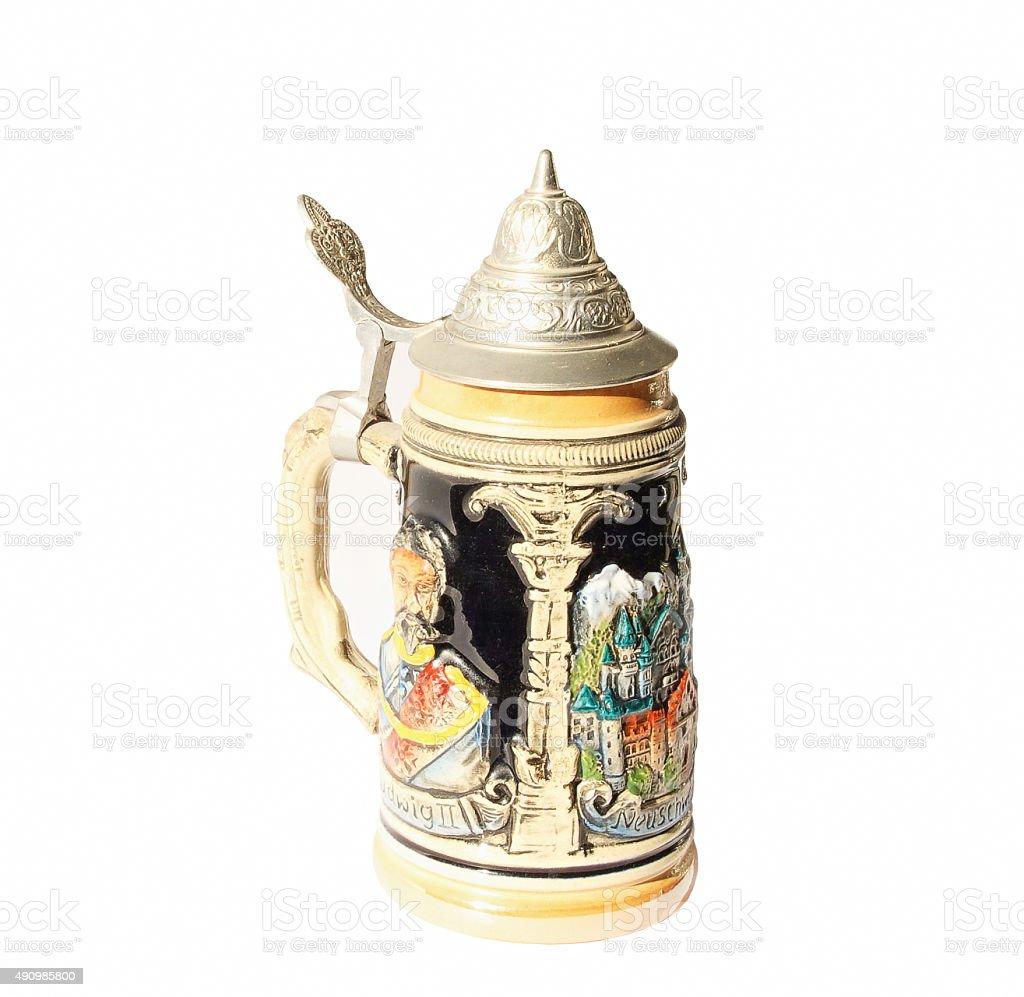 Traditional German beer mug (isolated). stock photo