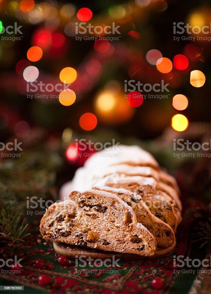 Traditional German Christmas cake Cranberry Stollen. Holiday xmas celebration decorations stock photo