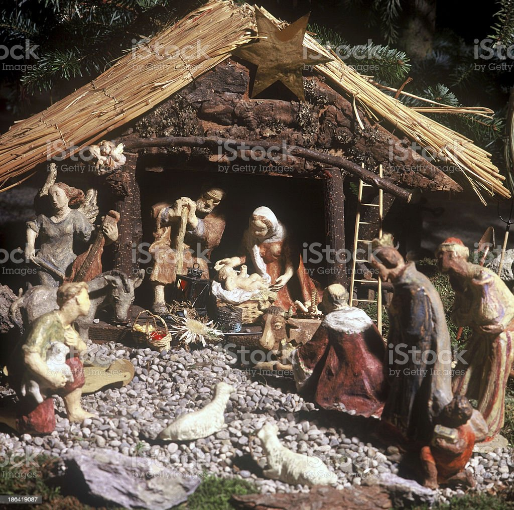 Traditional german christmas crib, hand made stock photo