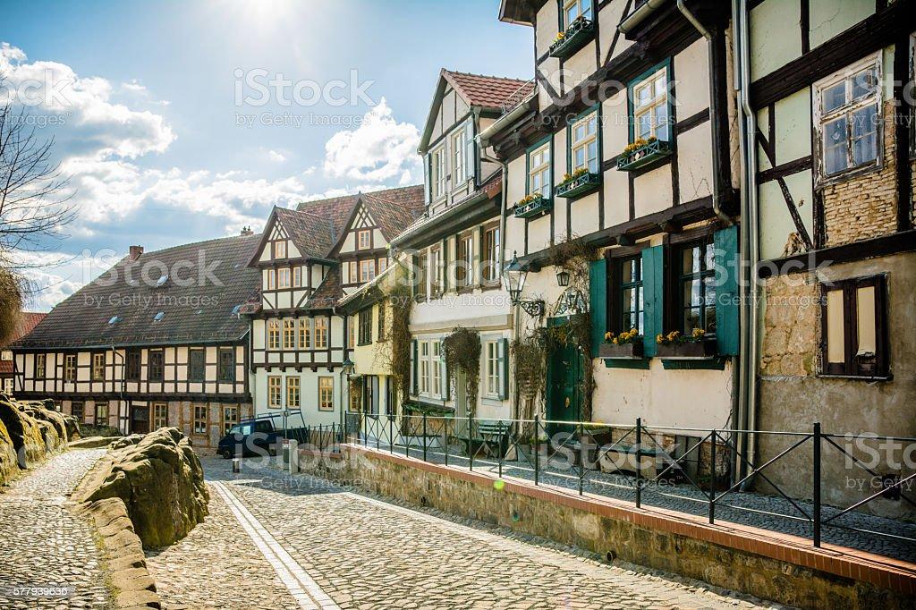 traditional german facade at quedlinburg village stock photo