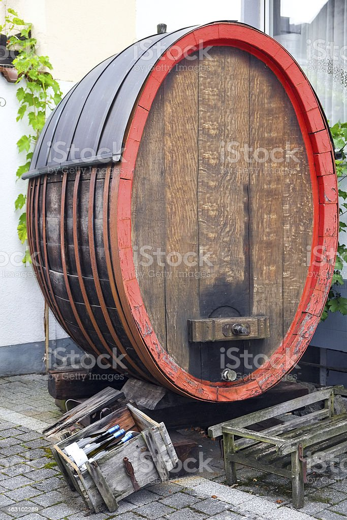 Traditional German wine barrel stock photo