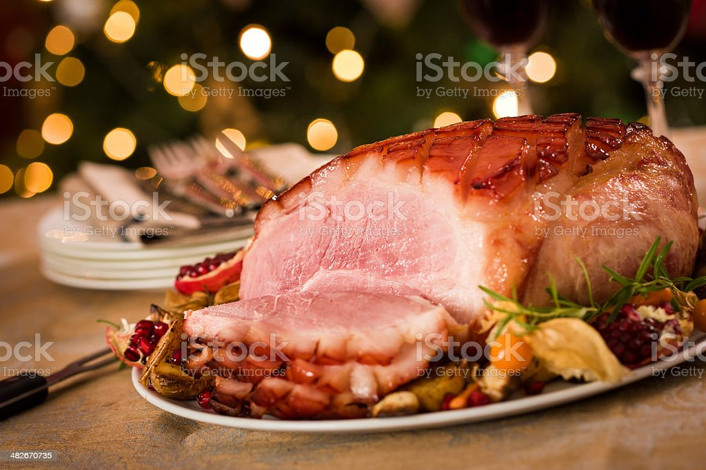 Traditional Glazed Holiday Ham Dinner stock photo