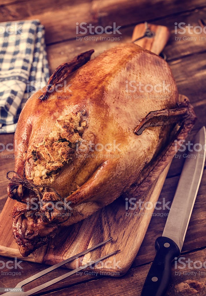 Traditional Glazed Roasted Goose with Stuffing stock photo
