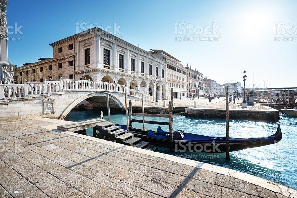 traditional gondola on Canal Grande, San Marco, Venice, Italy stock photo