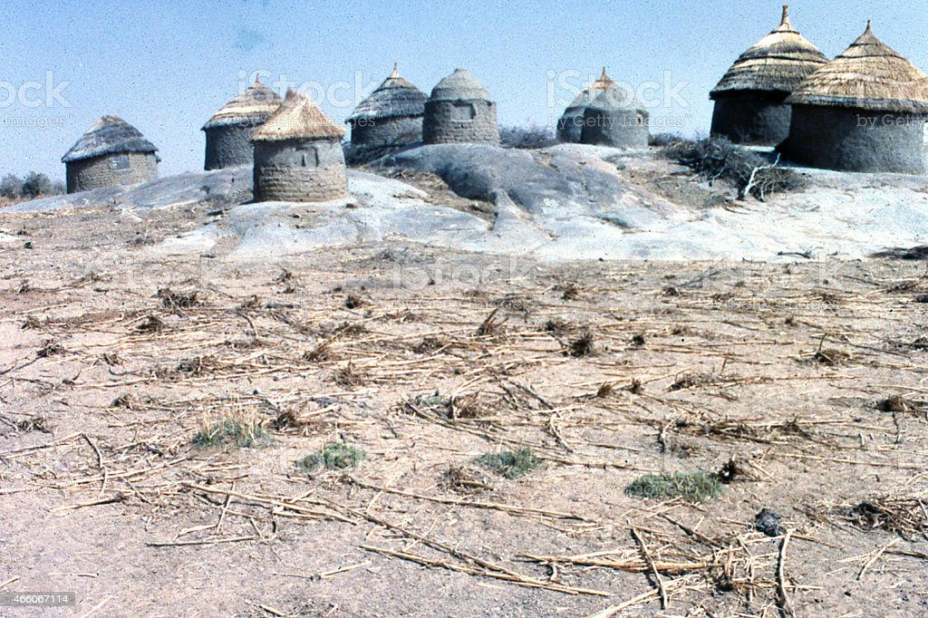 Traditional Grain Storage Silos Granite Outcrops Niger Sahel West Africa stock photo