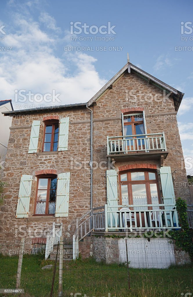 Traditional granite house in Brittany stock photo