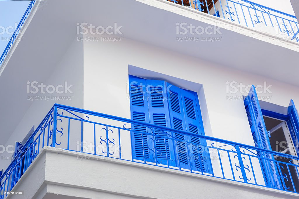 Traditional Greek architecture white and blue painting stock photo