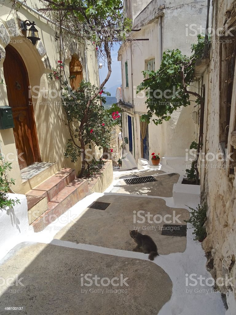 Traditional Greek houses and street royalty-free stock photo