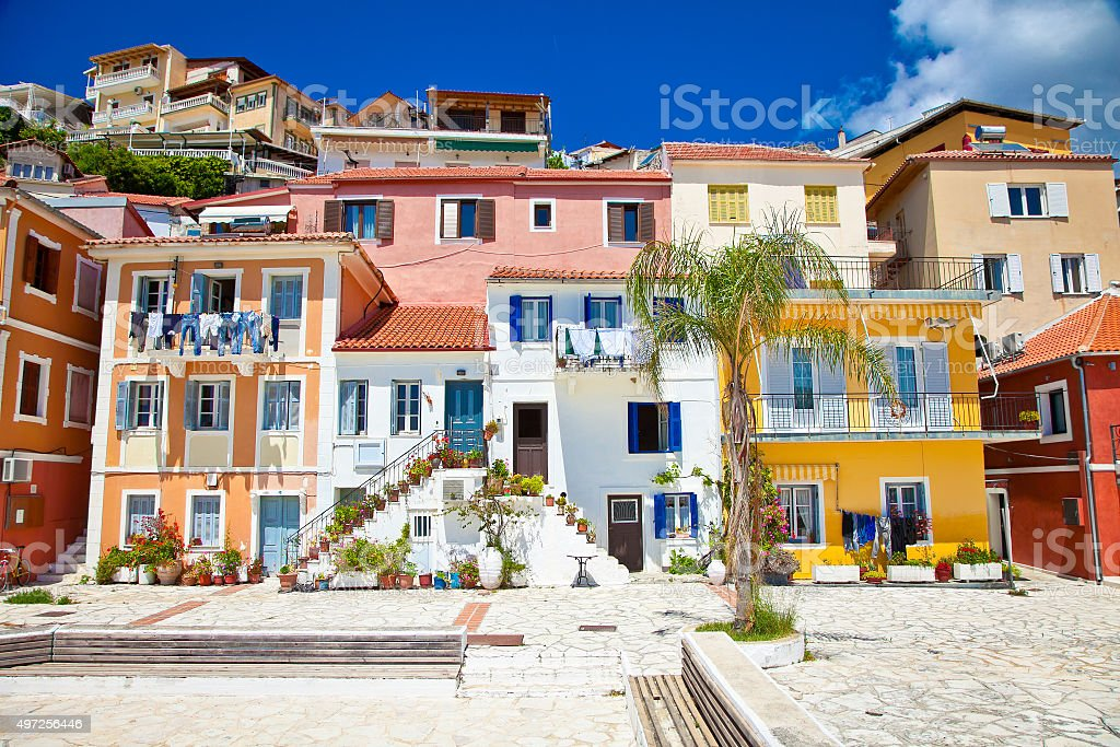 Traditional Greek Houses traditional greek houses in of parga village greece stock photo