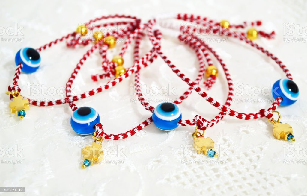 traditional greek March bracelets called ''martakia'' symbol of protection stock photo