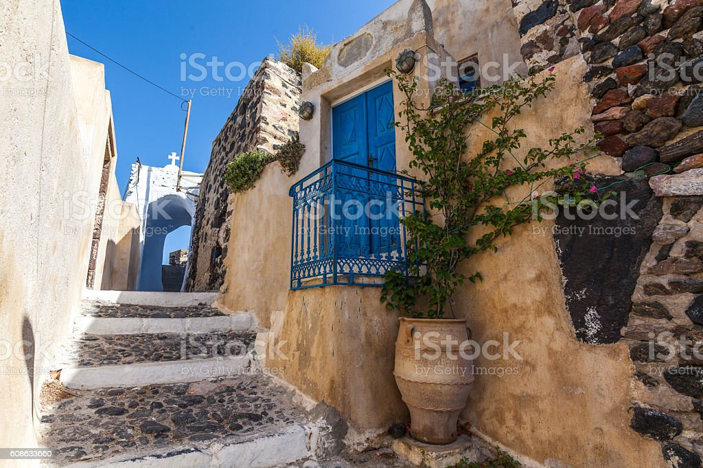 Traditional greek street in Pyrgos village, Santorini, Greece stock photo