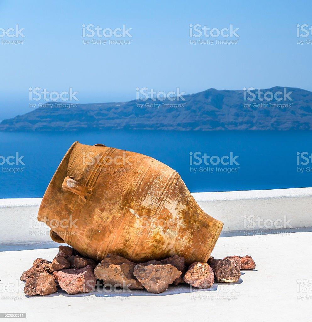 Traditional Greek vase on Santorini island, Greece stock photo