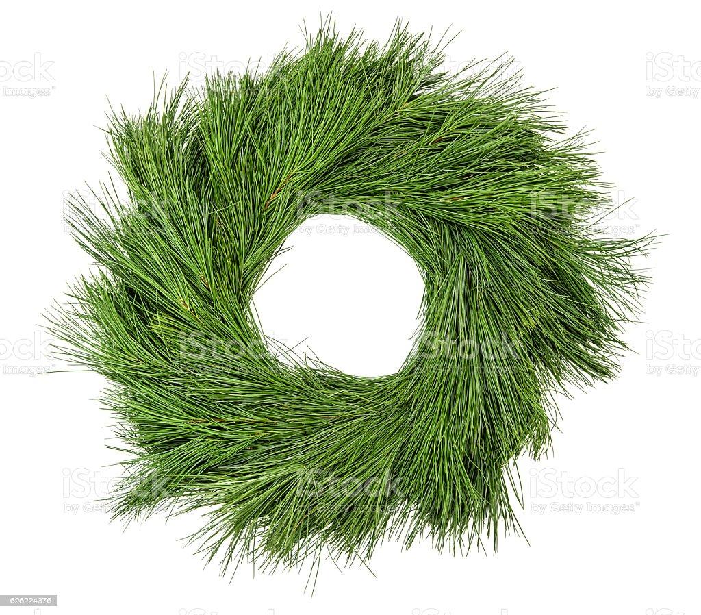 Traditional green christmas decoration evergreen pine wreath stock photo