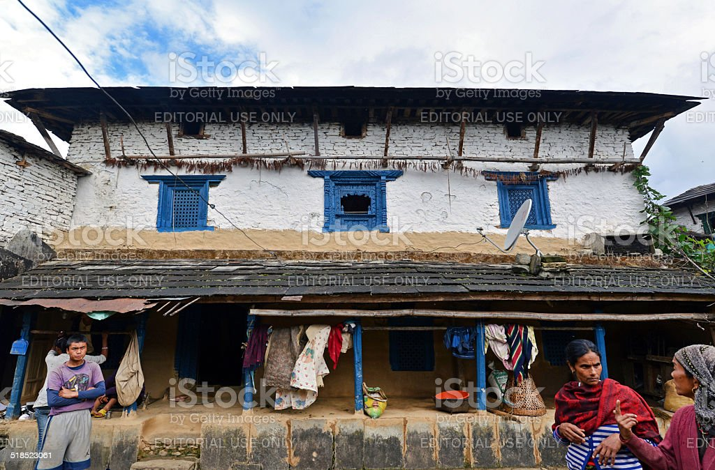 Traditional Gurung village of Ghandruk in the Himalayas stock photo
