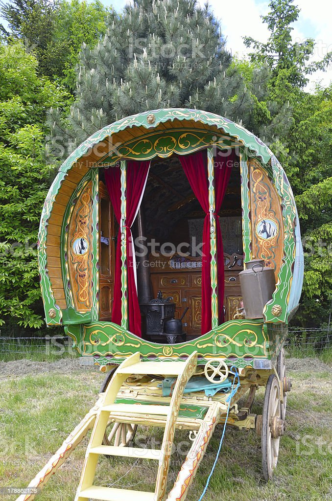 Traditional gypsy caravan stock photo