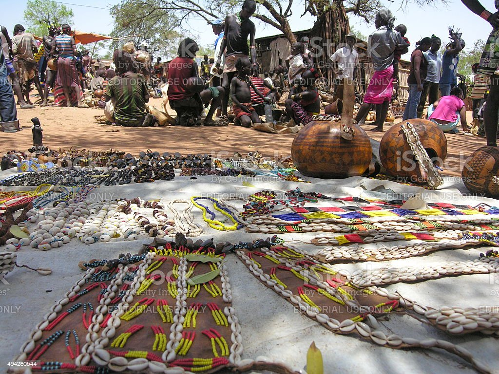 Traditional Hamer market in Dimeka, Valley Omo, Ethiopia. stock photo