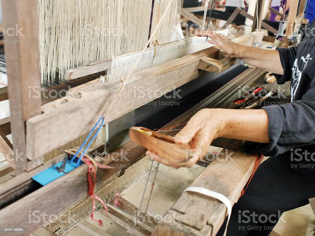 Traditional Hand Made Cotton Weaving stock photo