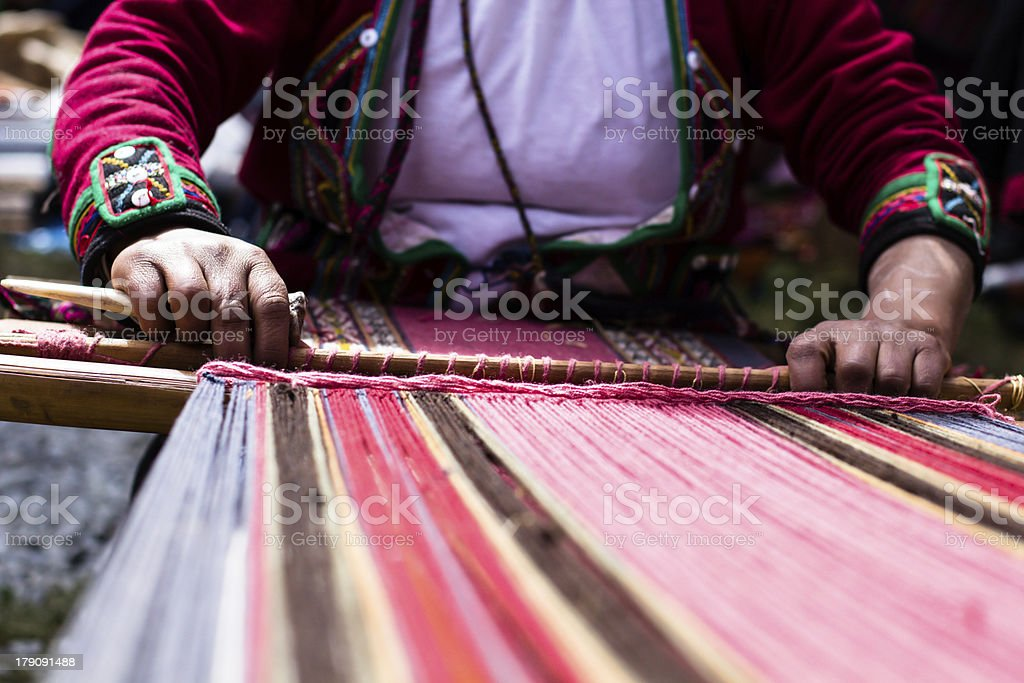 Traditional hand weaving in the Andes Mountains in Peru stock photo