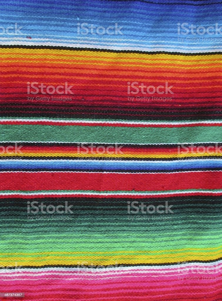 Traditional hand woven Mexican rug in beautiful colors stock photo