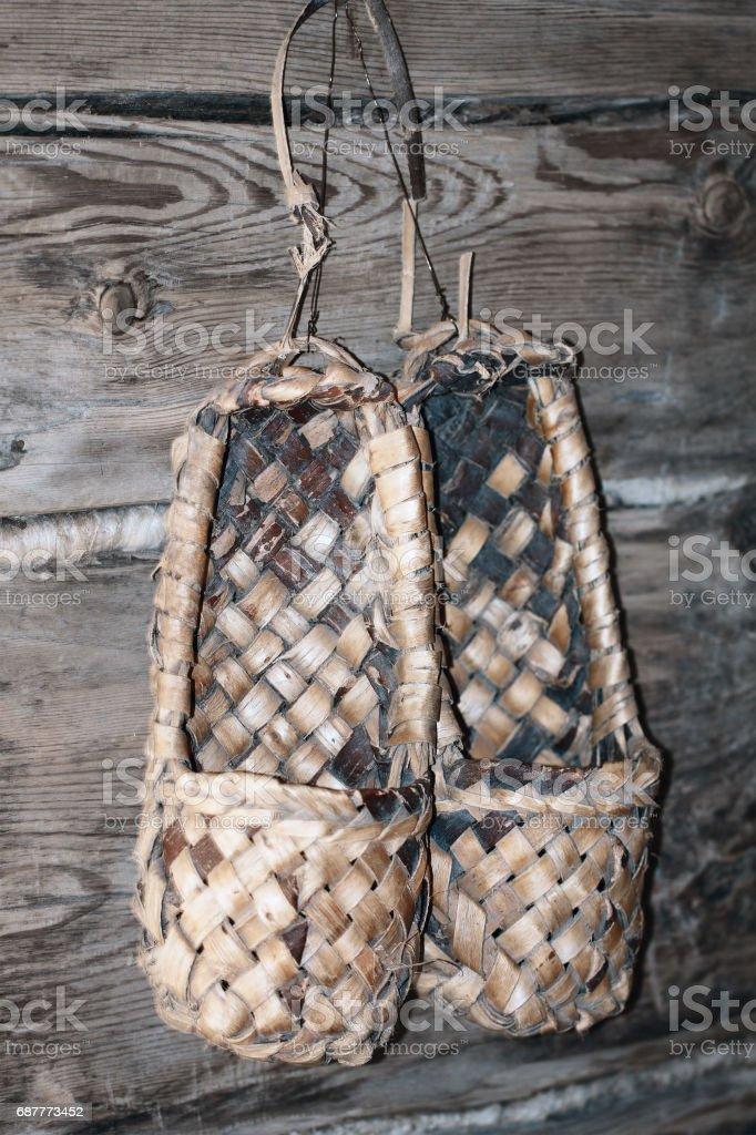 Traditional handcraft from birch bark (Sweden, Finland, Norway, Russia, Ukraine, Belarus ) stock photo