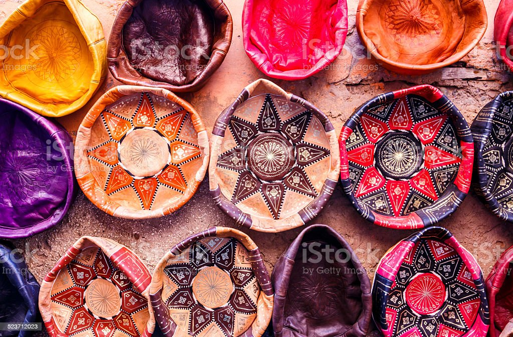 Traditional handmade leather souvenirs stock photo