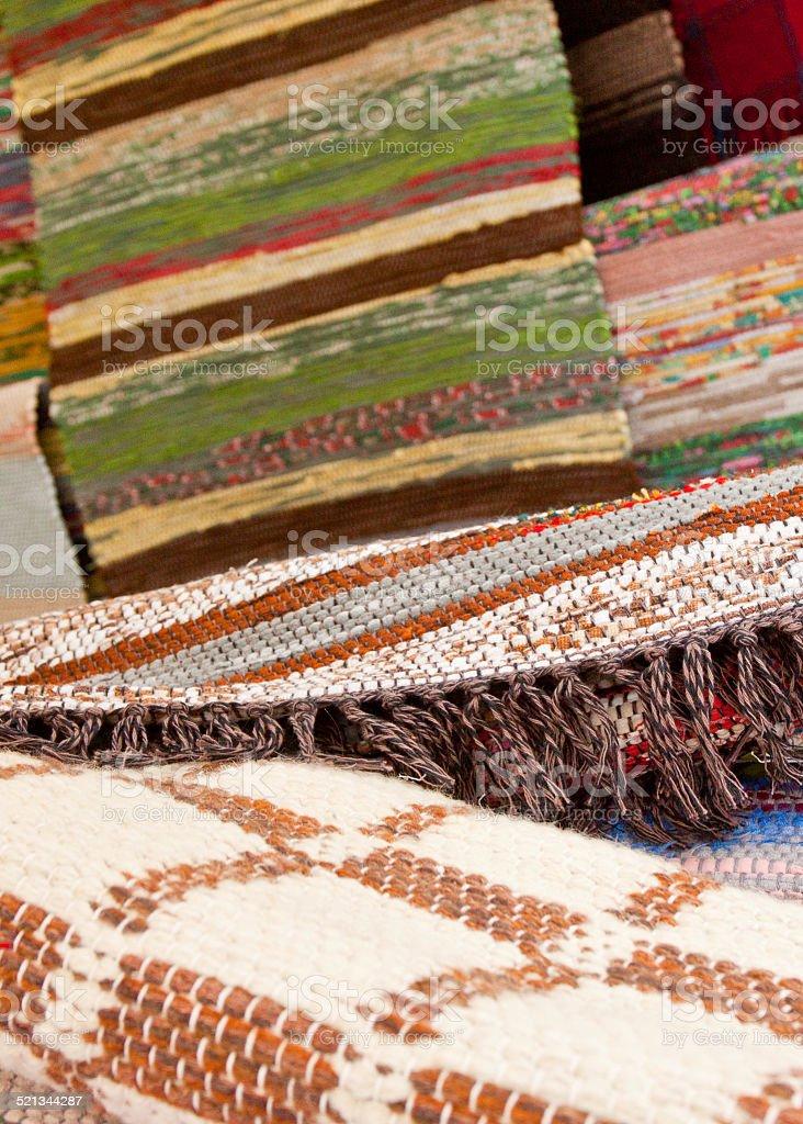 Traditional handmade woven rugs stock photo