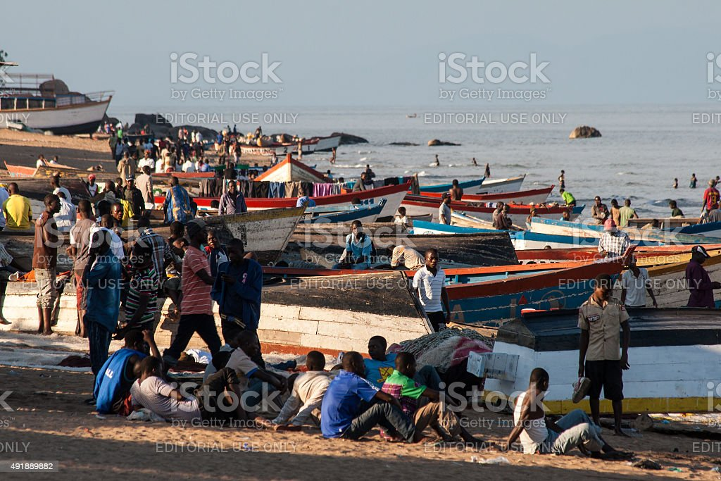 Traditional harbor in Malawi. stock photo
