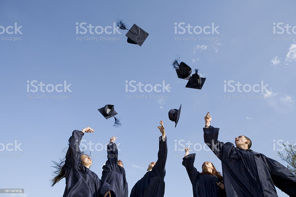 Traditional hat toss stock photo