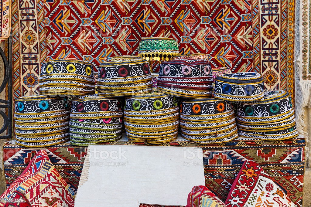Traditional hats with hand-embroidered Azerbaijan stock photo