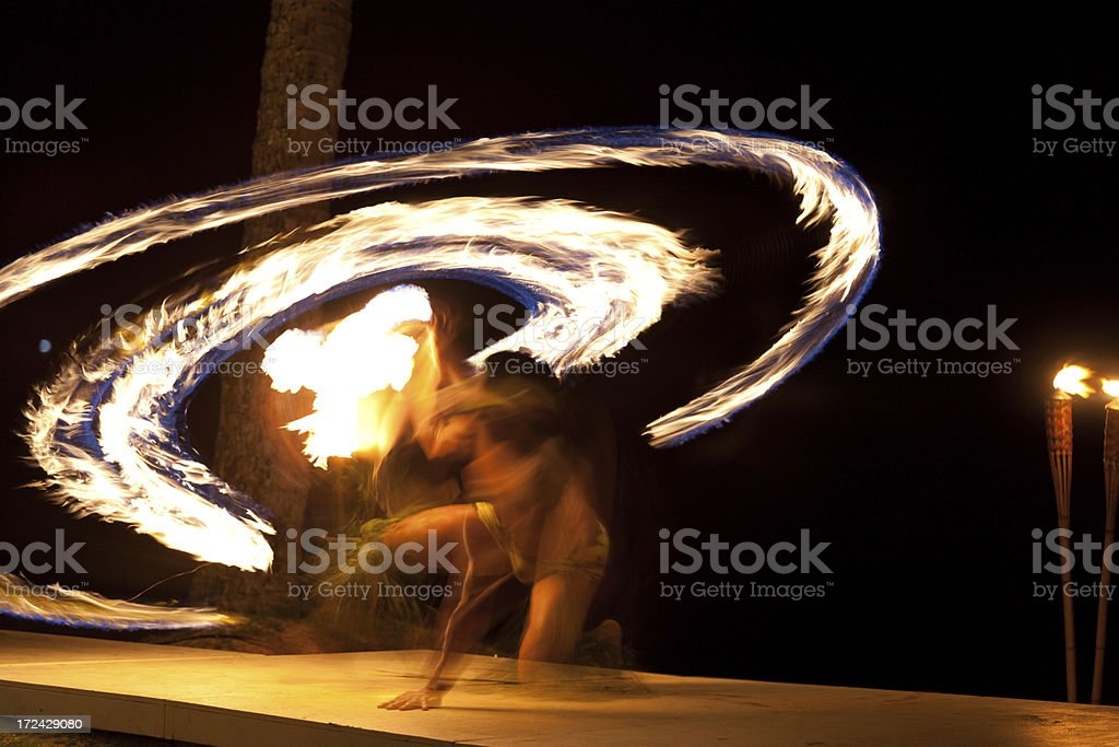 Traditional Hawaiian Fire Dance Performance stock photo