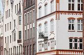 Traditional historic norwegian buildings facades in Bergen. Norw