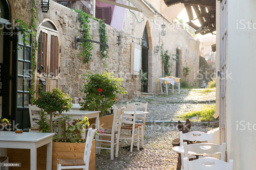 traditional historical street at old city of rhodes island greece stock photo