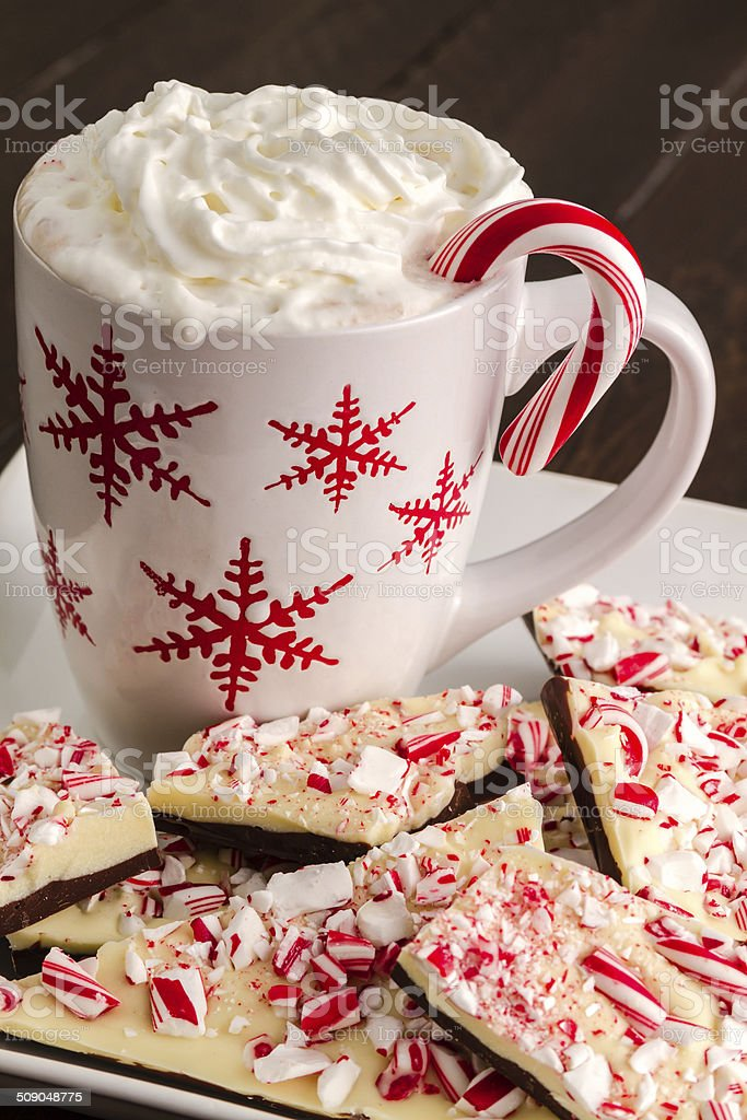 Traditional Holiday Chocolate Peppermint Bark stock photo