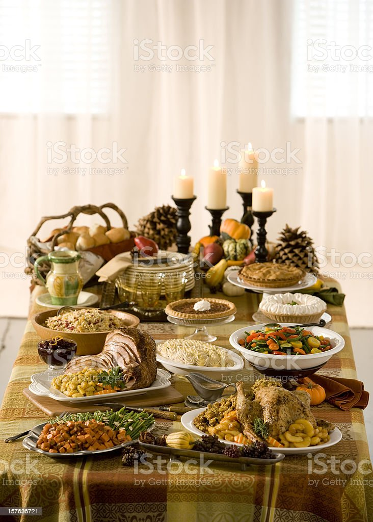 Traditional holiday dinner laid out buffet style stock photo