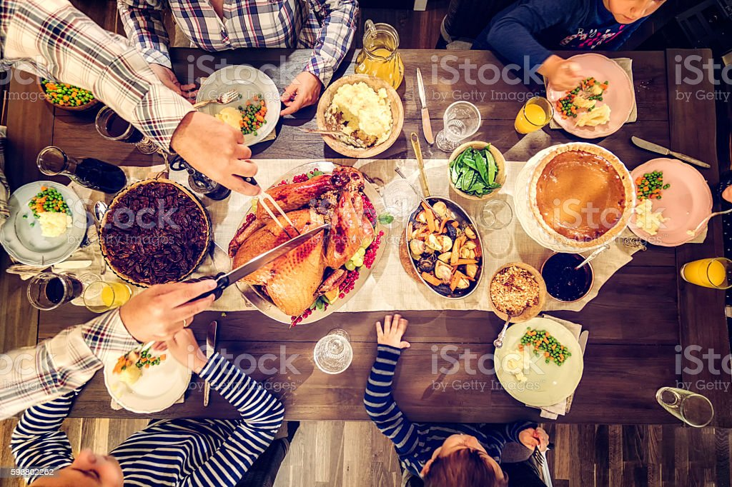 Traditional Holiday Stuffed Turkey Dinner royalty-free stock photo