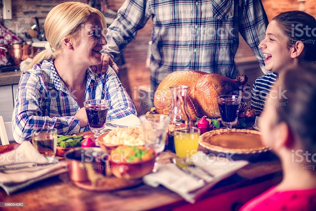 Traditional Holiday Stuffed Turkey Dinner stock photo