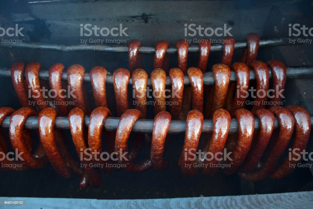Traditional home made smoked sausages stock photo