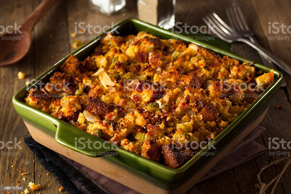 Traditional Homemade Cornbread Stuffing stock photo