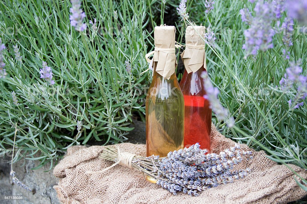 traditional homemade lavender and sage syrup stock photo