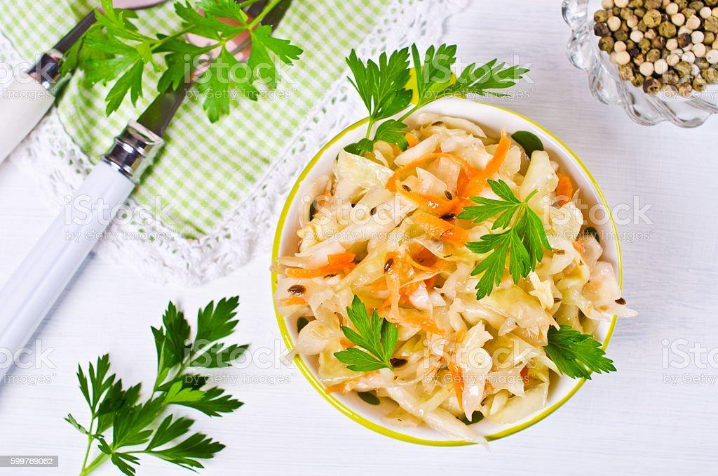 Traditional homemade sauerkraut stock photo